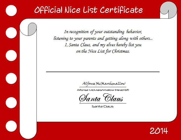 Nice list certificate and letter from santa fairhome road nice list fairhome road spiritdancerdesigns Image collections